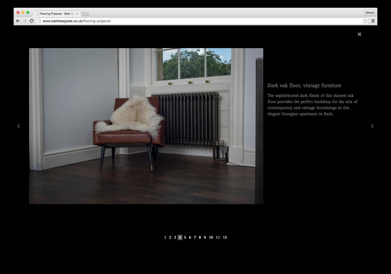 Full screen image gallery design