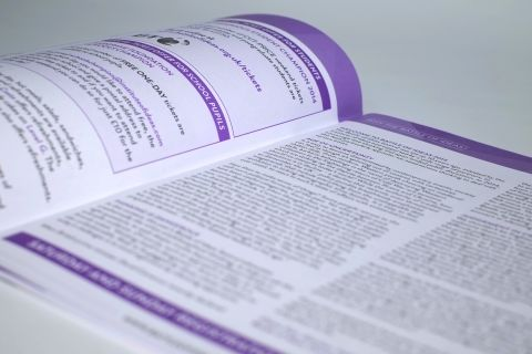 In 2014 the inner pages of the brochure were printed using purple and black.