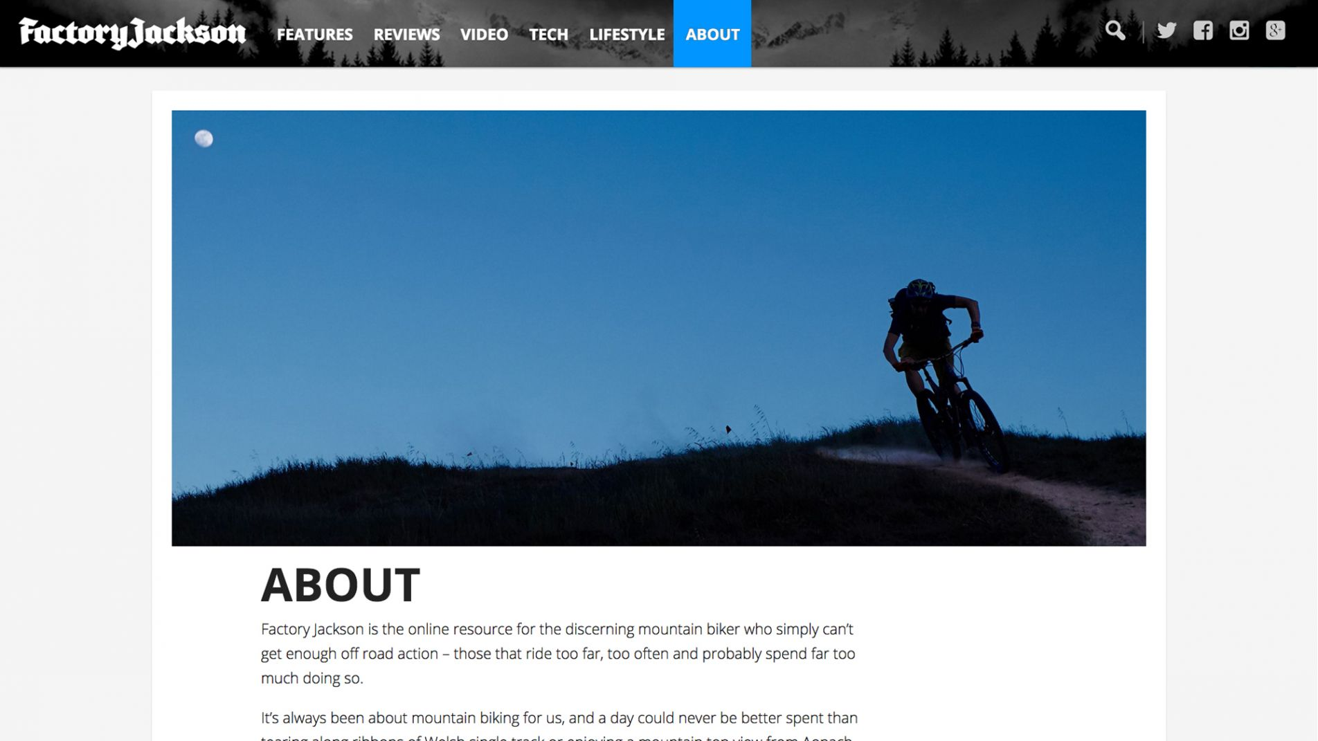 Web design for Factory Jackson About page