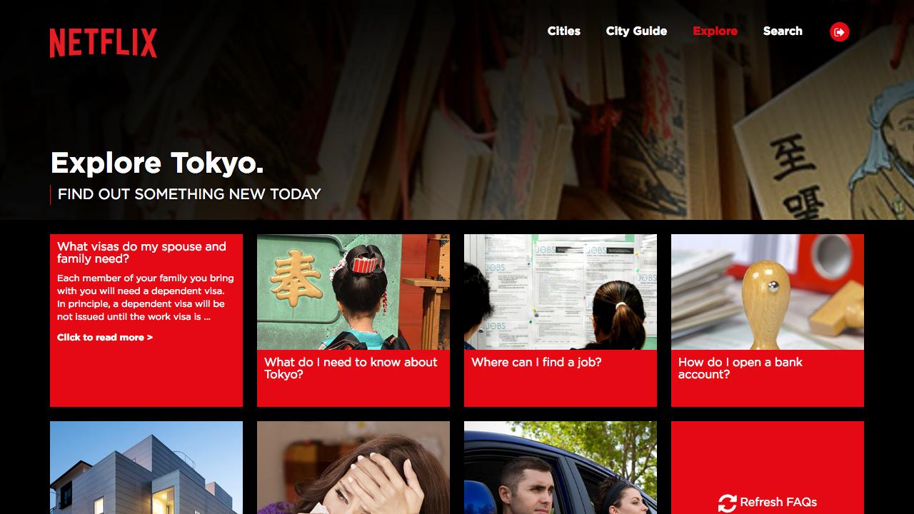 Netflix staff relocation website Explore Tokyo