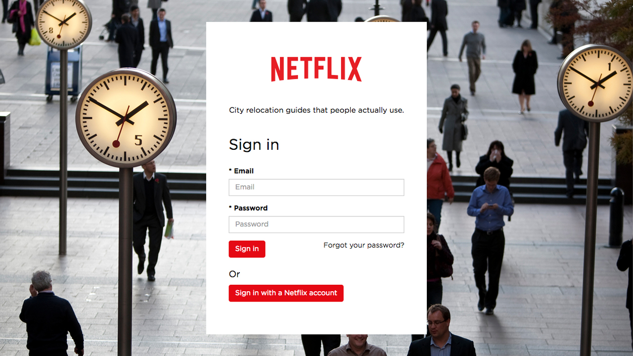 Login screen for Netflix staff relocation website