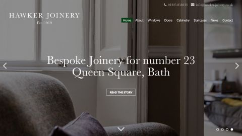 Home page design for Hawker Joinery
